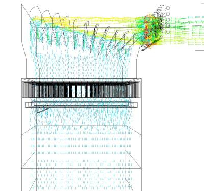 CFD plot (velocity vectors inside the SCR unit)