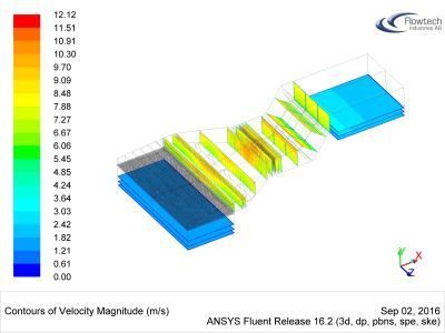 Velocity distribution inside the SCR unit (CFD)