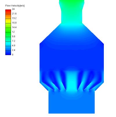 Wet ESP (CFD plot of gas velocity)