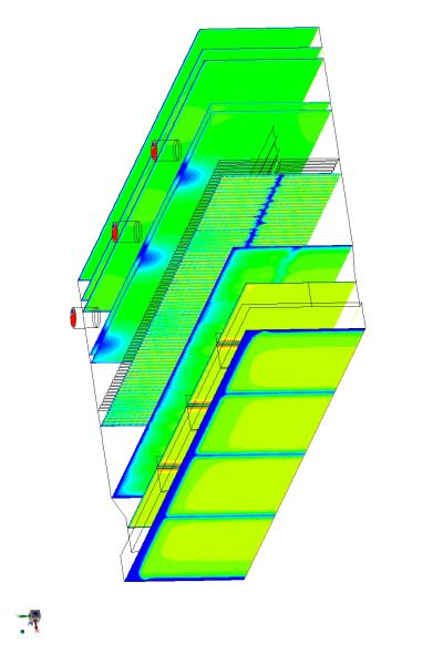 CFD plot showing the velocity distribution inside the CCGT with AIG installed