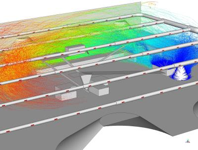 CFD visualization of the dust propagation in the hall