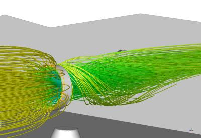 Stream-lines through the suction fan (CFD plot)